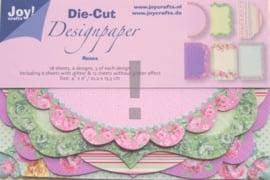JOY8011/0503- 18 stuks Die-Cut design papers roses 10.2x15.3cm