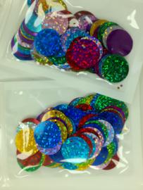 10 gram 19 mm. pailletten mix - diverse kleuren