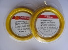 006302/0005- 10 meter satijnlint van 3mm breed op een rol geel
