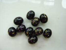 00037- 10 stuks kunststof kralen gemarmerd zwart/goud/paars 14x11mm OPRUIMING