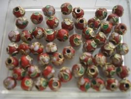 6 mm. CLOISSONNE kralen 14 stuks  rood 1354