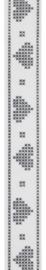CE542194/2280- 15 meter lint met geborduurde hartjes 22mm breed
