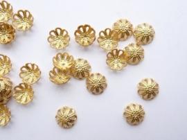 20 x kralenkapjes 7mm goud filigrain bloem model - SUPERLAGE PRIJS! CH.131.20