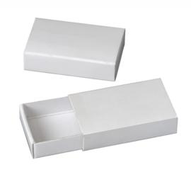 8735 779- 10 stuks kartondoos witte luciferdoosjes rechthoek 5.8x3.5x1.5cm