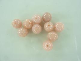 00069- 10 stuks kunststof kralen van 9mm roze gespikkeld OPRUIMING