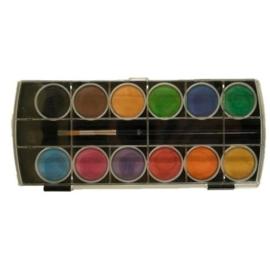 JOY6200/0240- aquarel/waterverf 12 kleuren + kwast