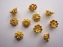 CH.130.10- 10 stuks zwaar metalen kralenkapjes / spacers 10x5mm goudkleur - SUPERLAGE PRIJS!