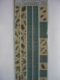5087- kerst randjes en hoekjes 30x13cm Sharon Ann collection