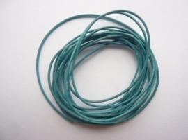 2 meter echt leren veter 1mm dik groen/turqoise