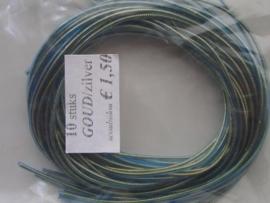 266- 10 x scoubidou touwtjes van 1 meter goud met blauw/groen