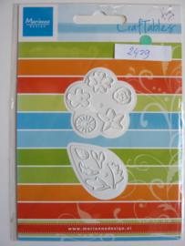 0002429- Marianne Design Craftables stencil bloemen en bladeren 4.5x4.5cm - OPRUIMING