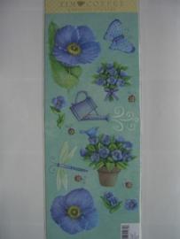 5107- bloemen/tuin stickers met embossing 30x13cm K&CO