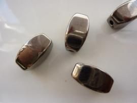 7323- licht metalen kraal 24x13mm antraciet