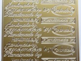 ST.1120- stickervel met tekst handmade by 10x23cm goud