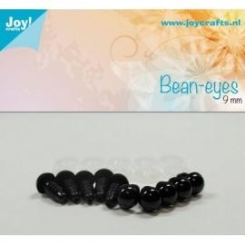 Joy6300/0613- 10 stuks bean ogen 9mm zwart