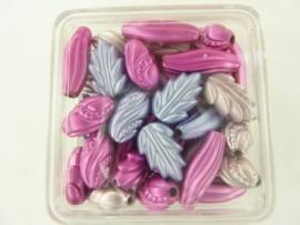 ca 60 x satijnkralen ornament roze/lila 117206/722KA