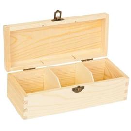 CE811720/0103- houten theekist 3-vaks 22x9.5x7cm pine