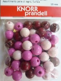 6013 004- 50 stuks 10 mm.houten kralen roze/lila mix