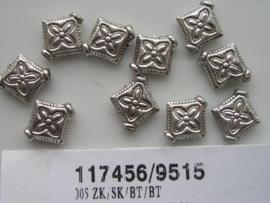 10 x zware massieve kralen platte vierkantjes 10x10mm 117456/9515