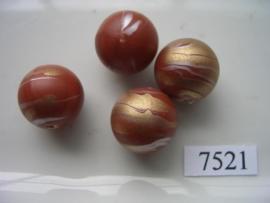 7521- 18mm bruine kunststofkraal marmer