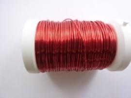 006466/0150- 50 meter glanzend metaaldraad 0.50mm diep rood