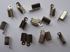 20 x veterklemmen/koordkapjes 12mm staalkleur voor veters van 2.5 tot 4mm dik -CN056E