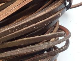 5 meter echt leren platte veter d.bruin van 3mm breed -  - SUPERLAGE PRIJS!