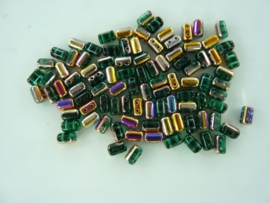 800- ca. 90 stuks glaskralen met 4 gaatjes 5x3mm olie groen/brons
