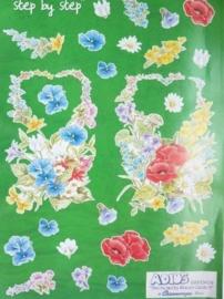 """kn/820- A4 3D knipvel Leh Suh """"bloemen"""""""