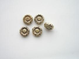 046- 5 x zwaar metalen kralen goud 10x3.8mm opruiming