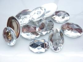 12 stuks XL strass stenen van 30x20mm ovaal kunststof zilver - SUPERLAGE PRIJS!