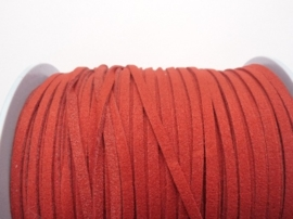 3 meter imitatie suede veter van 3mm breed rood