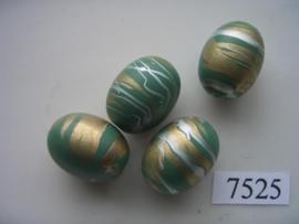 7525- 20x16mm groene kunststofkraal marmer