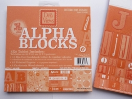 05975- 24 vel Alpha-blocks stansvellen en deco oranje 20x20cm OPRUIMING