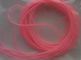 195- 6 x scoubidou touwtjes van 80 cm. fel roze mat