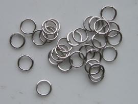 50 x enkele ringetjes 6mm staalkleur - dunne soort  -