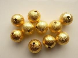 CH.EC249.NFG- 10 stuks metalen stardust kralen 12mm donker goudkleur