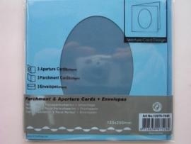 0000103- 3 x vierkanten kaarten met enveloppen ovale passepartout