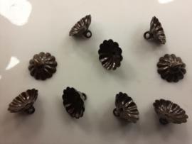 CH.010-B - 10 stuks donkerbrons kleurige steenkapjes - niet buigbaar