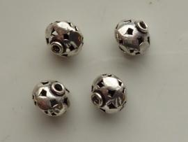 zware massieve metalen kraal rond openbewerkt 12mm 117465/0208