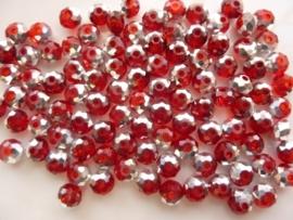 1252- ca. 98 stuks electroplated glaskralen 6x4mm rood met zilver coating  - SUPERLAGE PRIJS!