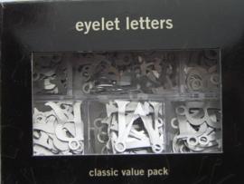 5194- doosje met 200 x metalen letters met gaatje zilver making M