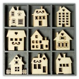 1852 1013- box met 45 stuks houten ornamentjes huisjes 10.5x10.5cm