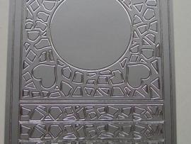 113- sticker met ornamenten en hartjes zilver 10x20cm