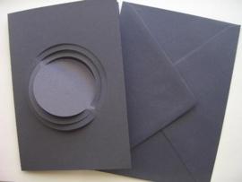 """000130- 5 x dubbele kaarten met enveloppen """"planeet"""" d.blauw"""