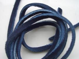 echte suede veter 3mm plat - donker blauw