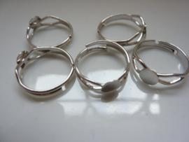 CH.402- 5 stuks verstelbare ringen met lijmplaatje van 5mm staalkleur- SUPERLAGE PRIJS!