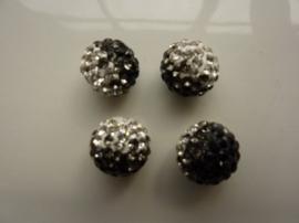 2340.429- strassbal van 12mm zwart/zilver