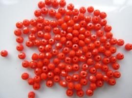 3907- ca. 140 stuks geslepen glaskralen van 3x2mm opak rood - SUPERLAGE PRIJS!