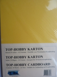 03- 20 vellen kaartkarton A5 formaat voor dubbele kaarten ca.225grams goud geel